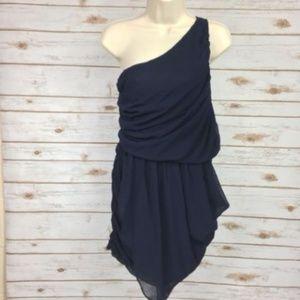 Ya Mini Dress One Shoulder Asymmetrical Hem Sz M